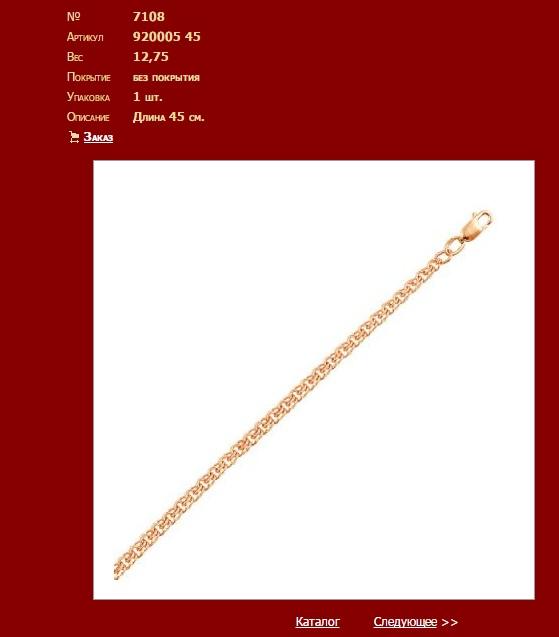 Сведения о товаре на официальном сайте