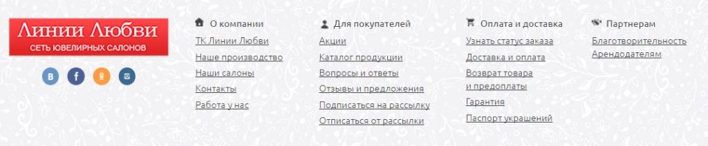 """Вкладки на официальном сайте """"Линия Любви"""""""